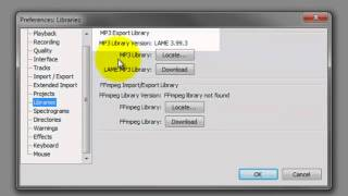 Audacity: Install LAME MP3 Encoder