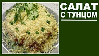 Салат с тунцом без картофеля и без лука .  Простые салаты