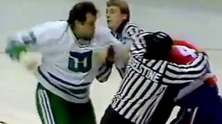 January 17 1987 Dave Semenko Whalers hammered Kevin Hatcher Capitals