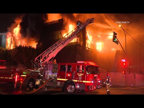 Massive 3rd Alarm Fire Rips Through 5 Story Building in East LA