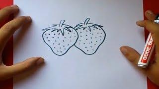 Como dibujar unas fresas paso a paso | How to draw some strawberries