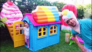 Öykü Ice Cream House Pretend Play with colored Ice Cream Swimming bed, Fun kid video