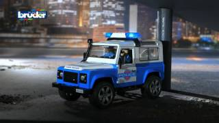 Bruder Toys Land Rover Police Vehicle with Light Skin Policeman #02595