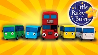 Ten Little Buses | From Wheels On The Bus | Nursery Rhymes | by LittleBabyBum
