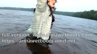 WetLook 198 Girl in Shorts and High Leather Boots in Water