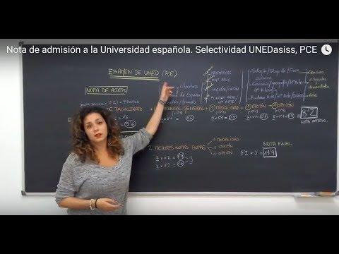 Nota de admisión a la Universidad española, Selectividad UNEDasiss, PCE
