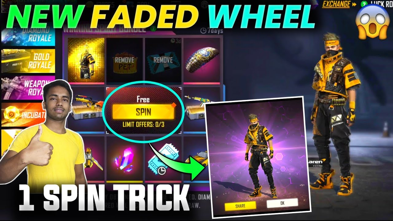 FREE FIRE NEW FADED WHEEL    FADED WHEEL FREE FIRE 1 SPIN TRICK    HOW TO GET NEW FADED WHEEL BUNDLE