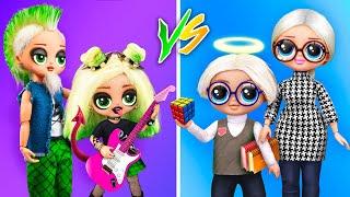 Rock Girl vs Nerd Boy / 11 LOL Surprise DIYs
