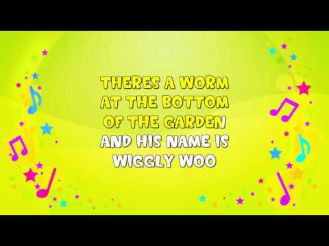 Wiggly Woo | Karaoke | The Worm Song | Nursery Rhyme | KiddieOK