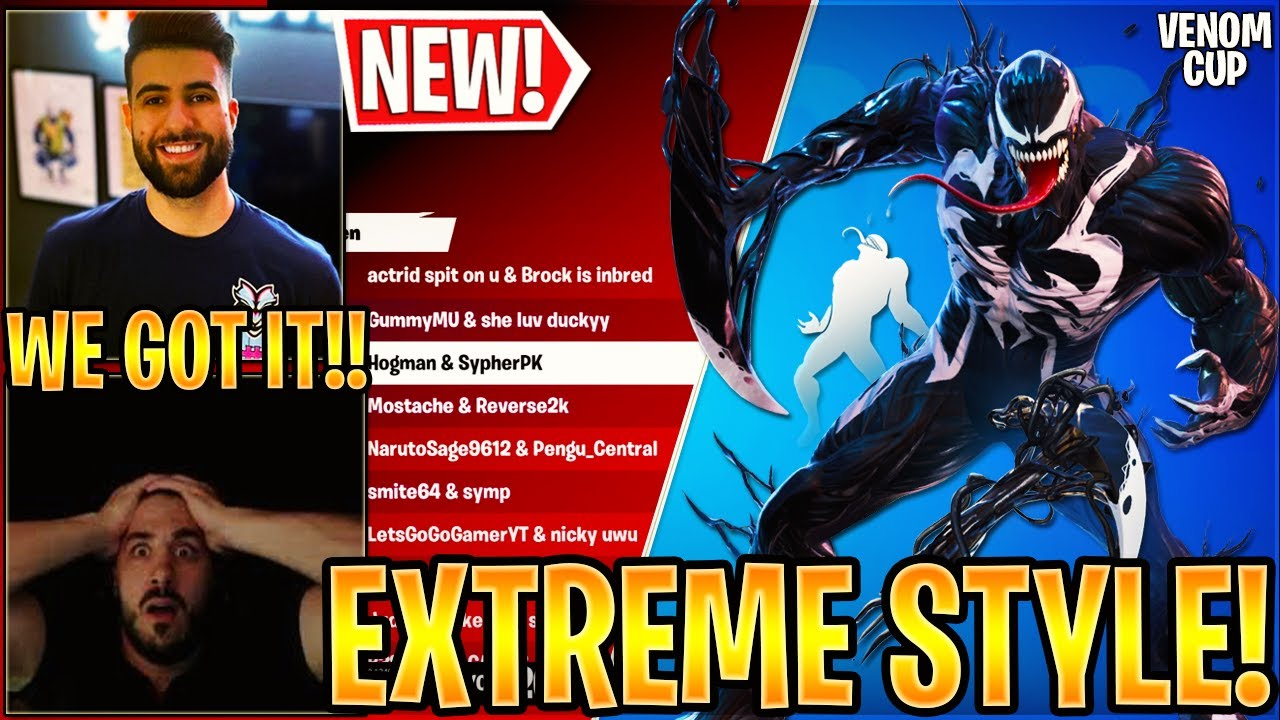 """Streamer Get *NEW* """"VENOM"""" SKIN, PICKAXE and """"We are Venom"""" Emote in  (MARVEL SERIES FREE Cup)"""