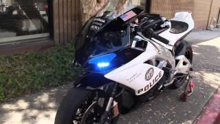 Полицейский мотоцикл Aprilia RSV4 Police Лос анджелись [HD] Video