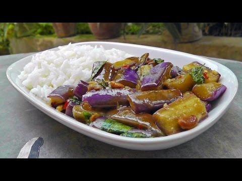 Thai stir-fried Eggplant   Vegan Vegetarian Recipe