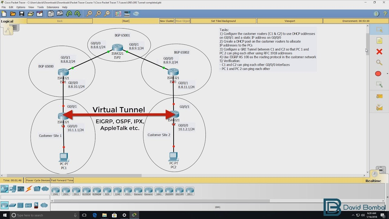 Cisco CCNA Packet Tracer Ultimate labs: GRE Tunneling  Can you complete the  lab?