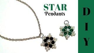 5 MINS Beaded pendants. beading tutorial. DIY star pendants.Jewelry making easy