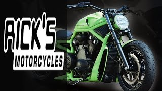 harley davidson v rod green apple by rick s motorcycles   muscle custom review