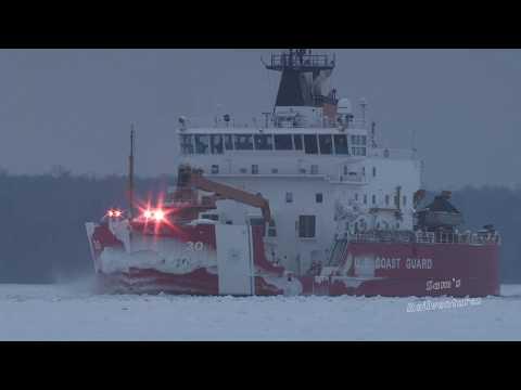 Largest Icebreaker on Great Lakes:  USCG Mackinaw Operation Taconite, Sault St. Marie Jan. 2018