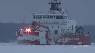 Largest Icebreaker on Great Lakes:  USCG Mackinaw Operation Taconite, Sault St. Marie Jan. 2018