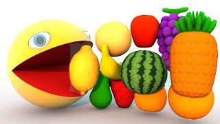 Pacman for Kids to Learn Colors with Fruits Learning Video for Children