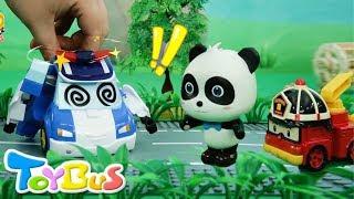 パトカーが動かないよ!ガソリンが切れたかな?❤ガソリンスタンド屋ごっこで給油するよ❤トイバス(ToyBus)キッズ おもちゃアニメ thumbnail