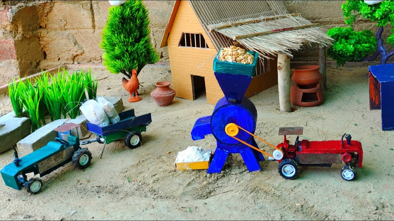 DIY tractor science project   flour mill machine   Mini Village House - with Cow shed