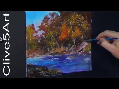 Easy River Landscape , in Acrylic painting for beginners, Acrylic painting,clive5art