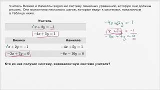 Эквивалентные системы линейных уравнений | Системы уравнений | Алгебра I (9 видео)