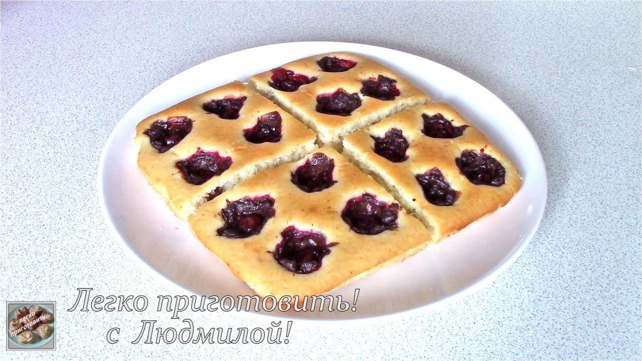Постный пирог с вишней и шоколадным кремом. Нежный, пышный и очень вкусный.  Легко приготовить!