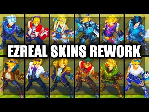 All Ezreal Skins Spotlight Rework 2018 Pulsefire Star Guardian Arcade SSG (League of Legends)