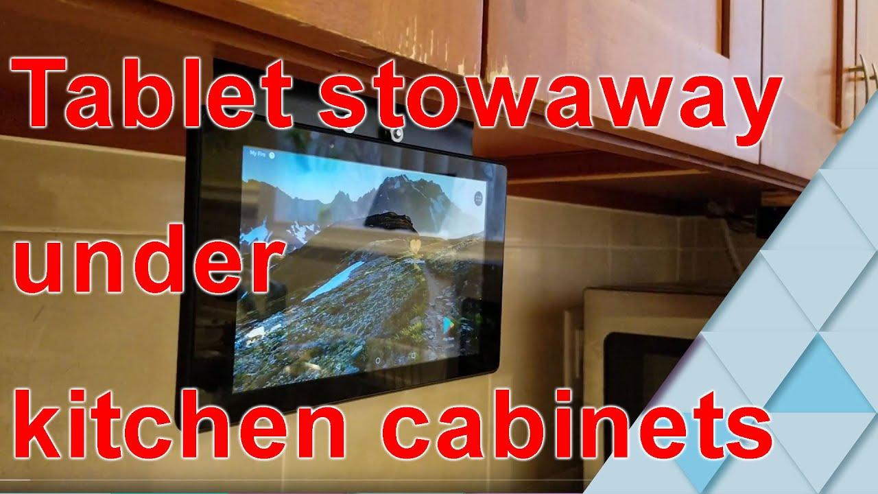Diy Under The Cabinet Tablet Holder Easy Youtube