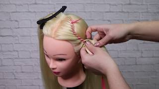Коса с лентой. Простые уроки. Плетение кос
