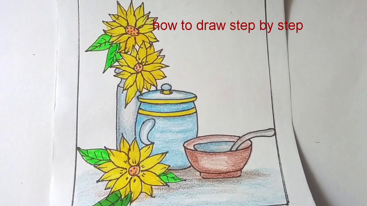 How to draw stilllife  composition step by step/drawing with basic shapes/drawing for beginners