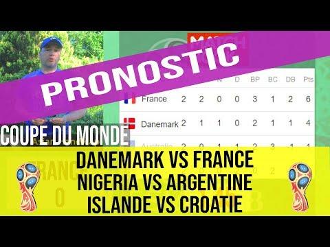 Pronostic Danemark - France, Islande - Croatie,  Nigeria - Argentine, Coupe De Monde 2018