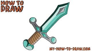 How to draw a Minecraft Giant Diamond Sword - Easy step-by-step drawing tutorial