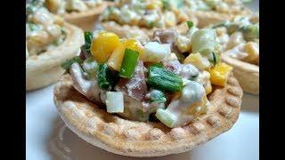 Рецепт салата с консервированными кальмарами - Salad recipe with canned squid.