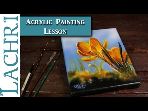 Painting a yellow flower in Acrylics - Tips and Techniques w/ Lachri