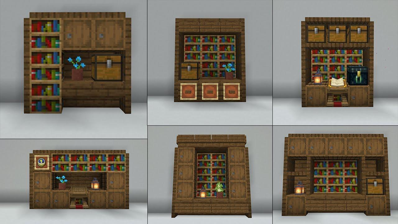 Minecraft 20+ Simple Bookshelf Designs