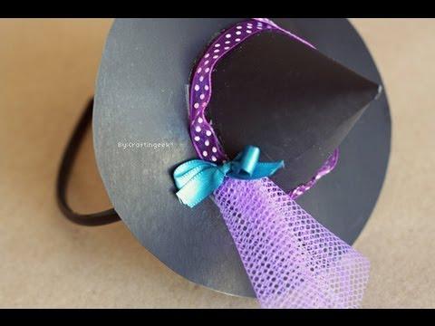 Sombrerito de Bruja - Accesorio Halloween  disfraz + FACIL  - YouTube c75a525c666