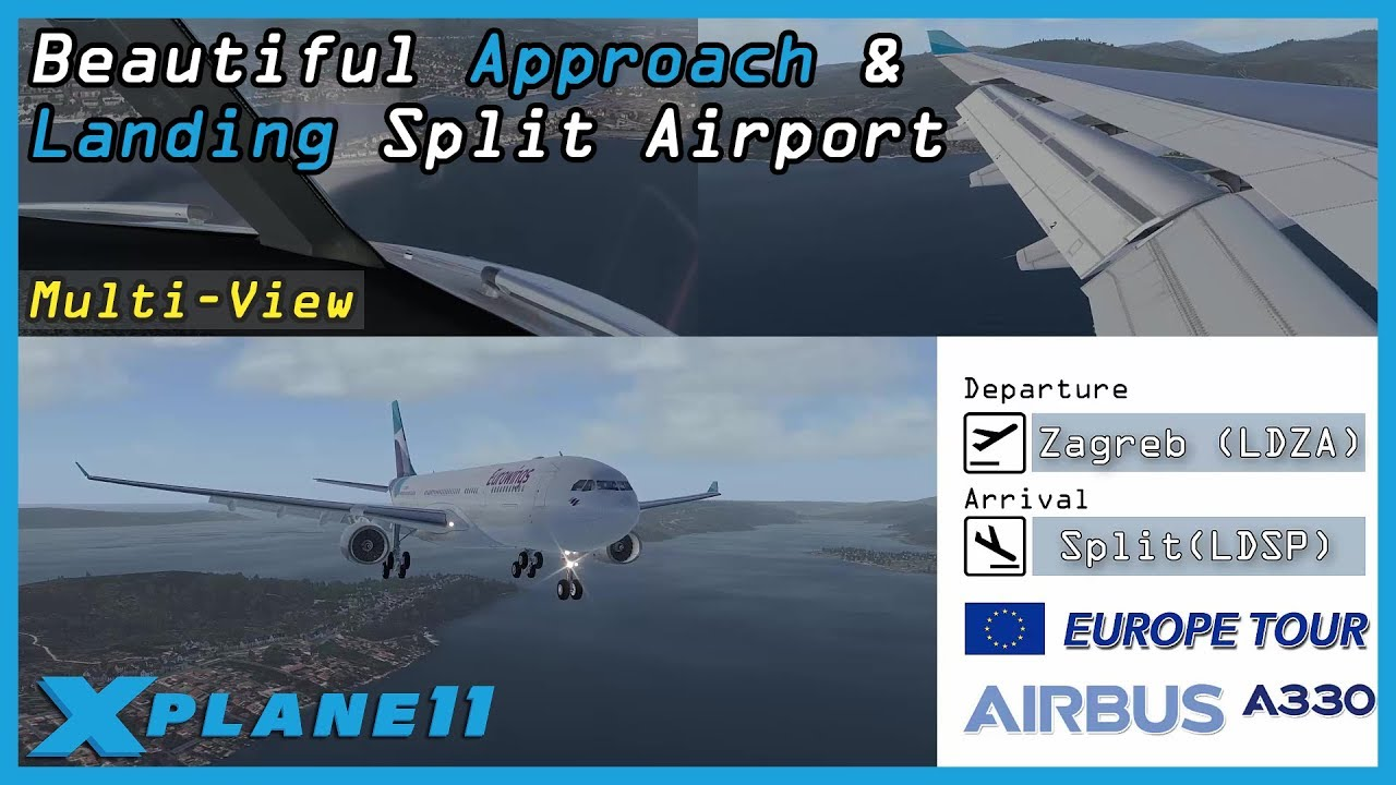 Beautiful Approach and Landing Split Airport (LDSP) | X-Plane 11 |  JarDesign A330