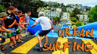 Urban Surfing down streets of San Francisco! - Bear Naked!