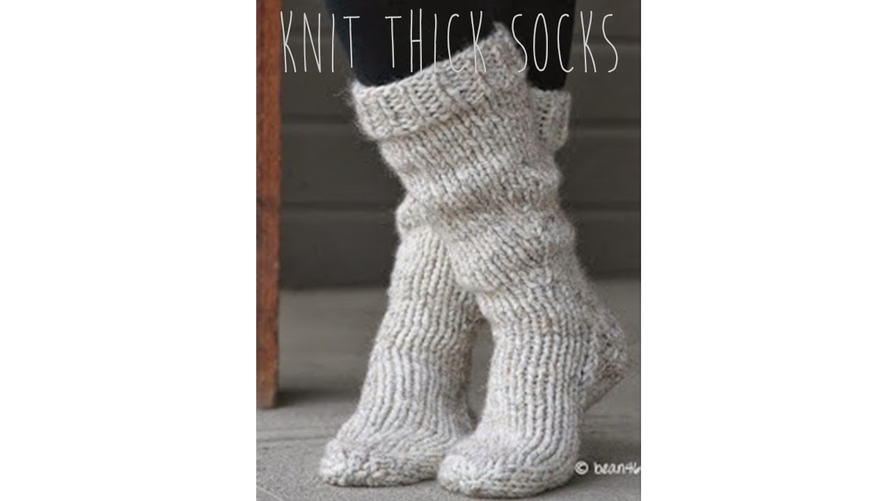 KNITTING TUTORIAL - FAST & EASY THICK SOCKS - YouTube