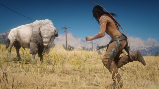 NATIVE AMERICAN Hunting Legendary White BISON in Red Dead Redemption 2 PC ✪ Vol 17