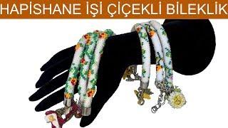 2D and 3D bead crochet flowered bracelet