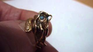 Unusual Vintage 14 Carat Gold Chinese Dragon Ring with Natural Opals. Adjustable Size.