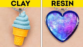POLYMER CLAY VS. RESIN || Coolest DIY Jewelry, Mini Crafts And Accessories