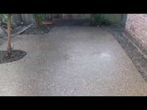 Veterans concrete,..exposed aggregate patio / post acid wash
