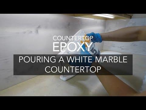Pouring A White Marble Epoxy Countertop