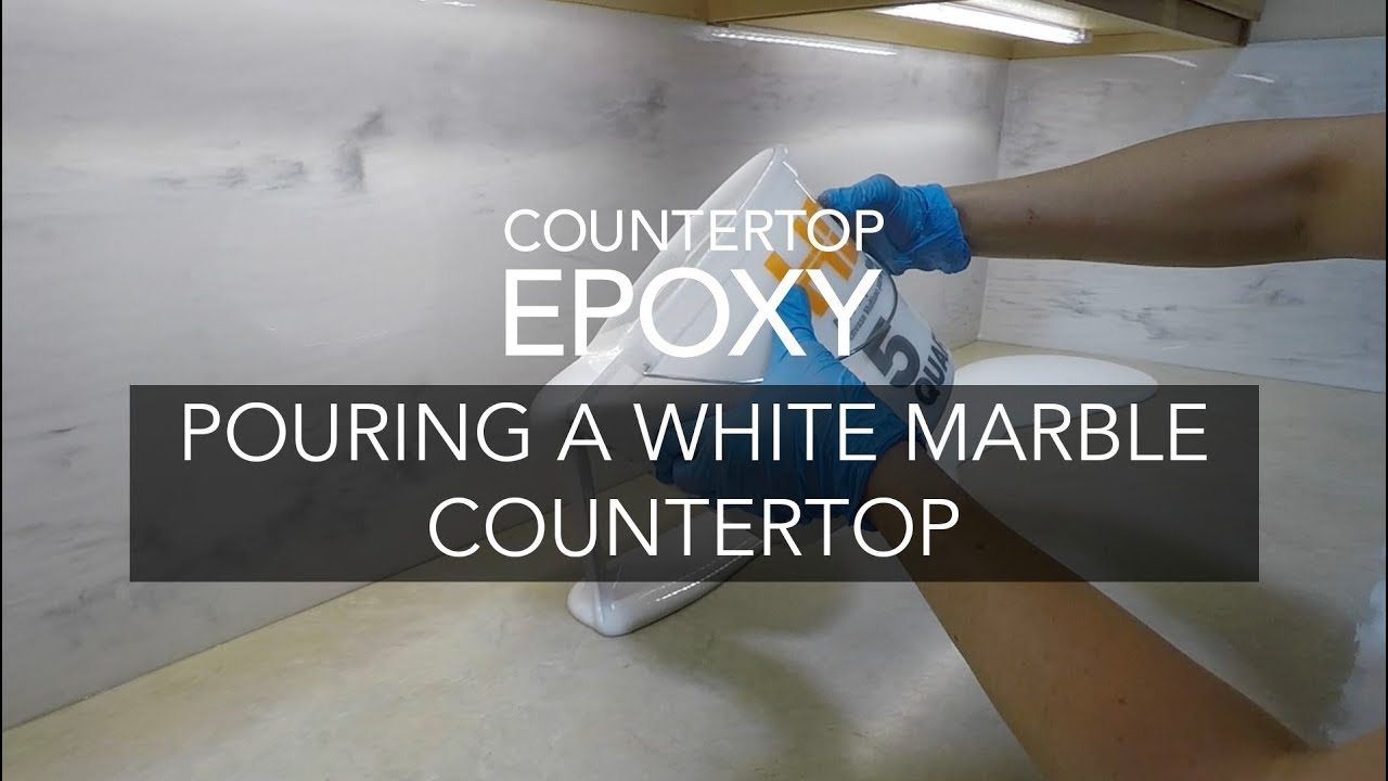 Pouring A White Marble Epoxy Countertop Youtube