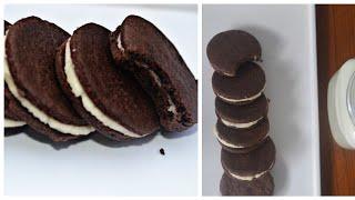 #oreobiscuitrecipe Homemade eggless oreo cookies recipe chocolate cookies with vanilla cream