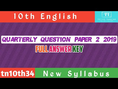10th English Quarterly Question Paper 2 Full Answer Key | SVB | 2019 To 2020