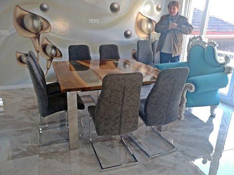 Epoxy and walnut wood table-Woodworking Projects - Resin Art-epoksi stolovi